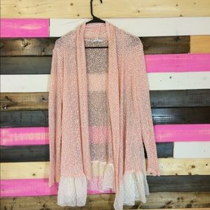 Sweaters - Pink Cardigan with Accents of White S